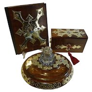 Magnificent & Grand French Three Piece Desk Set - Hand Painted Porcelain Inset c.1860