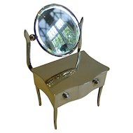 Charming Figural English Sterling Silver Jewellery Box - Dressing Table With Mirror