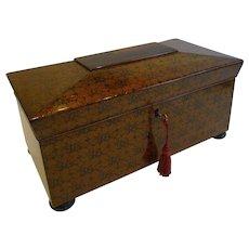 Magnificent and Rare Scottish Regency Penwork Tea Caddy c.1820 - Edinburgh