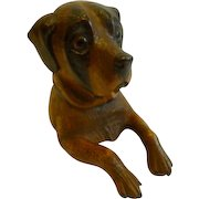 Charming Antique Novelty Black Forest Inkwell - Dog c.1890