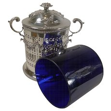 Stunning Antique English Silver Plated Biscuit Box With Blue Glass Liner c.1880 - Red Tag Sale Item