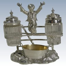 Charming Antique English Figural Silver Plated Novelty Cruet - Reg. 1873