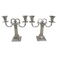 Fabulous Small Pair Corinthian Column Antique English Two Arm Candelabra - Rams Head - 1893