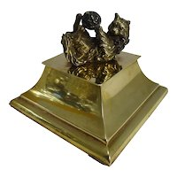 Charming Antique English Figural Inkwell - Bronze Kitten / Cat c.1880
