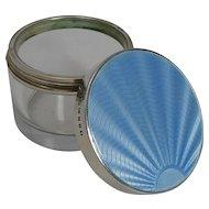 Art Deco Sterling Silver & Guilloche Enamel Lidded Jar - 1934