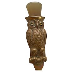 Antique English Owl Button Hook - Glass Eyes c.1900