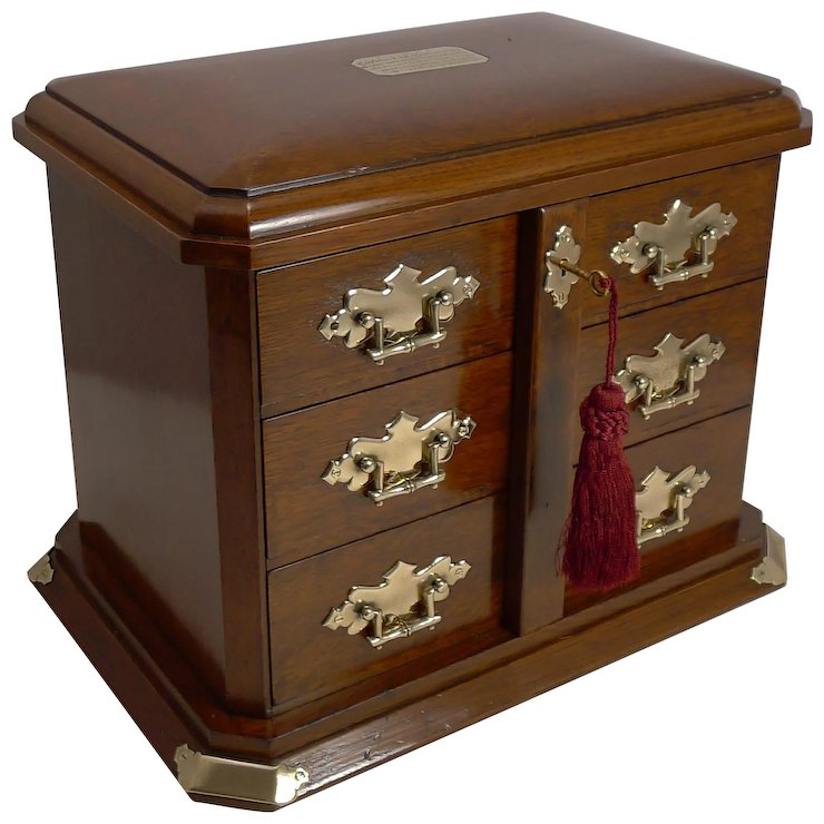 Top Quality Antique English Cigar Cabinet / Humidor c.1912 - Naval Interest - Top Quality Antique English Cigar Cabinet / Humidor C.1912 - Naval