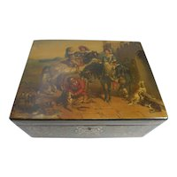 Antique Hand-Painted Jennens & Bettridge Jewelry Box c.1850