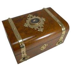 Antique English Burl Walnut Jewellery Box - Brass & Pietra Dura Mounted c.1860