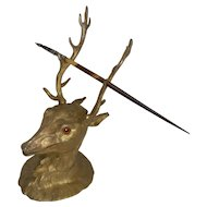 Antique English Figural Gilded Bronze Inkwell - Original Glass Eyes - Stag, c.1880