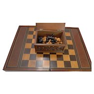 Oversized Games Box - Backgammon, Chess, Checkers c.1890
