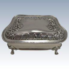 Pretty Antique English Sterling Silver Jewelry Box - 1902