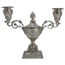 Magnificent Novelty Silver Plated Candelabra Inkwell by Martin Hall c.1890