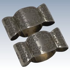 Beautifully Shaped Pair Antique English Sterling Silver Napkin Rings