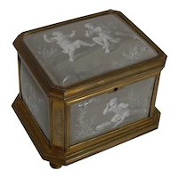 Antique French Limoges Enamel Jewelry Box c.1850