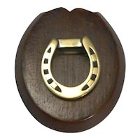 Antique English Oak and Brass Horseshoe Letter / Paper Clip - Equestrian c.1890