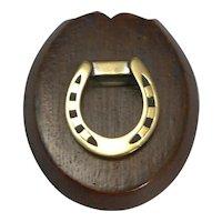 Antique English Oak and Brass Horseshoe Letter / Paper Clip - Equestrian c.1890