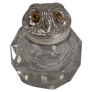 Novelty Victorian Silver Sampson Mordan Inkwell - 1895 - Owl