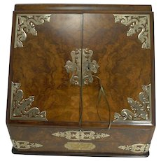Fine Quality Antique English Brass Mounted Burr Walnut Stationery Cabinet / Writing Box