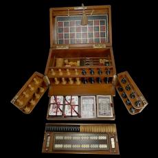 Magnificent Brass Bound Mahogany Games Box / Compendium c.1890/1900