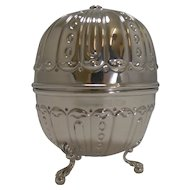 Handsome Large Late Victorian English Sterling Silver String Box / Dispenser
