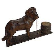 Antique Figural Black Forest Inkwell - Dog - St. Bernard c.1890