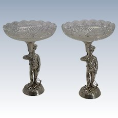 Grand Pair Nautical Silver Plate and Cut Crystal English Centerpieces - Sailor Prince