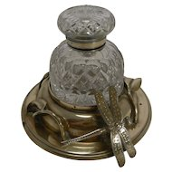 Rare Antique English Art Nouveau Inkwell - Dragonfly c.1890