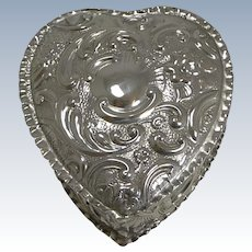 Romantic English Edwardian Heart Shaped Box In Sterling Silver