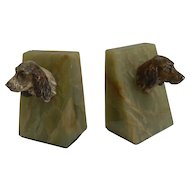 Vintage 1930's Cold Painted Bronze Cocker Spaniel Bookends