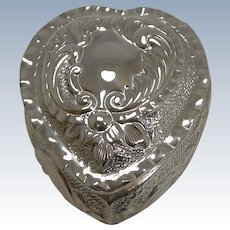 Antique English Sterling Silver Heart Pill Box - 1897