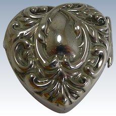 Petite Antique English Heart Shaped Pill Box - 1901