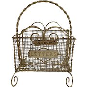 Antique English Brass Mesh Letters Rack c.1890