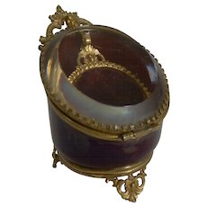 Antique French Red Glass Pocket Watch Box c.1890