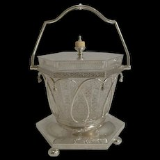 Finest Hand Cut Crystal and Silver Plate Biscuit Box c.1870