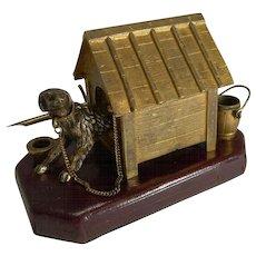 Antique English Novelty Inkwell / Desk Set - Dog In Kennel c.1880