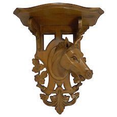 Handsome Hand Carved Horse / Equestrian Fruitwood Wall Bracket c.1890