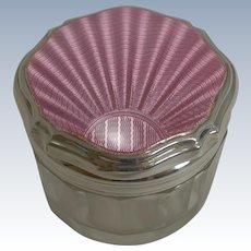 Art Deco Silver and Pink Guilloche Enamel Lidded Jar - 1935