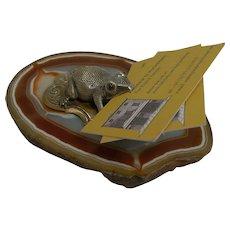 Antique English Novelty Visiting Card Holder / Receiver c.1890 - Frog