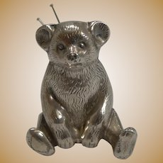 Antique English Novelty Pin Cushion In Sterling Silver - Teddy Bear - 1909