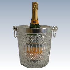 Vintage 1960's Crystal and Silver Plate Wine Cooler / Champagne Bucket
