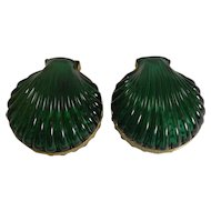 Striking Pair French Emerald Crystal Shell Shaped Jewelry Boxes c.1920
