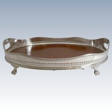 Fabulous Large Fruitwood and Silver Plate Tray - Selfridges, London c.1890