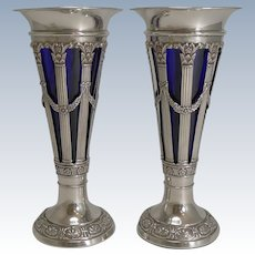 Stunning Pair Antique English Sterling Silver Vases by Walker and Hall