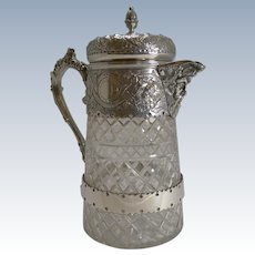 Outstanding Antique English Cut Crystal and Silver Plate Wine Jug c.1880