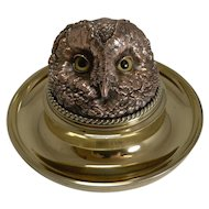 Rare Mammoth English Victorian Novelty Inkwell - Owl With Glass Eyes c.1880