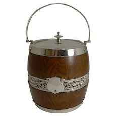 Antique English Oak and Silver Plate Biscuit Box / Barrel c.1900