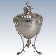 Grand Antique English Silver Plate Biscuit Box by Martin Hall & Co. c.1860