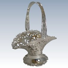Stunning Antique English Reticulated Silver Plate Fruit Basket c.1900