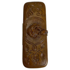 Rare Antique Black Forest Travel Thermometer - Carved Dog c.1900